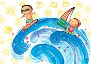 Children surfing and wind surfing
