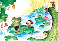 Children playing games with a frog on a lily pad