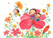Children playing on and flying with flowers