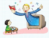 Child learning math from a teacher inside a television