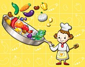 Little girl cooking vegetables