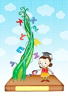 Girl watering a bean stalk with letters attached