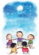 Children playing in a circle at night under the moon and shooting stars