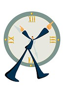 A businessman pointing at a clock
