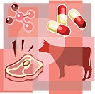 Montage illustration about antibiotics in meat containing pills, molecules, a cow and a steak