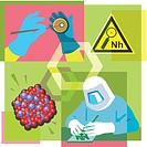 Montage illustration about nanotechnology containing a nanohazard symbol, molecules and a researcher