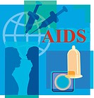 Montage illustration about AIDS containing two men, syringes, globe and condoms