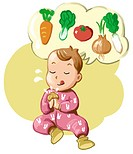 A hungry baby thinking about vegetables