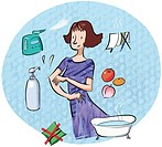 A montage of a woman washing with natural products, a bath tub, soap, humidifier, fruit