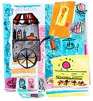 Collage of ice_cream cart, sun and beach, illustrating summer