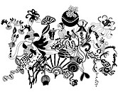 Black and white floral organic shapes and patterns (thumbnail)