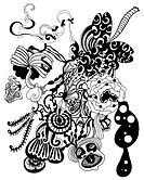 Black and white abstract flowers and shapes