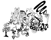 Black and white abstract floral and bird pattern