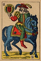Vintage playing card showing a prince with feathered hat holding a coat of arms (thumbnail)