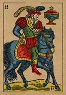 Vintage Jack of Spades card with a prince on a horse