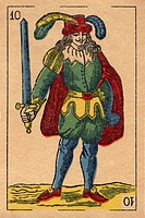 Vintage playing card showing a man with feathered hat holding a sword