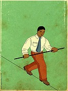 Illustration of a businessman walking a tight rope