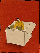 Illustration of a businessman climbing out of a box