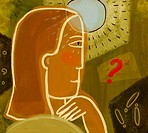A woman with a light coming from her forehead and a red question mark