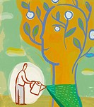 Illustration of a man watering a tree that is shaped like a human head