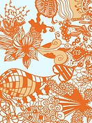 A whimsical orange and blue floral illustration background