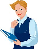 Business woman holding a pen and notebook