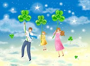 Family flying through night sky holding onto clovers
