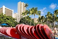 Surfboards, Waikiki Beach, Oahu, Hawaii, USA