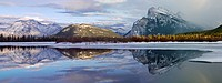 Canada Alberta Banff Banff National Park Vermilion Lakes in winter with Fairholme Mountain Range and Mount Rundle reflecting in lake