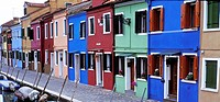 Italy Venice Buranorow of multicolored houses