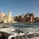 One of 5 famous towns of the Cinque Terre Vernazza It has no car traffic a road leads into a parking lot on the edge of the town and remains one of th...