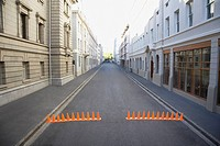 Urban street with traffic cones