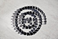 Office chairs in spiral formation