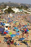 Week-end beach crowds at Laguna Beach, California, USA