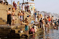 Hindu Worshipers Bathing in the Ganges River, Varanasi, Uttar Pradesh, India