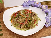 food, food styling, flower, table mat, decoration, noodle with vegetable
