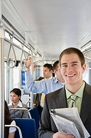 Young man commuting