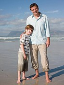 Father and son at beach