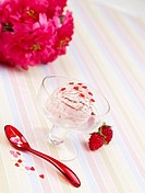 mountain berry, ice cream, spoon, ice cream cup, cup, flower, icecream