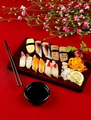 soy sauce, plate, chopsticks, decoration, food styling, salmon sushi, sushi plate