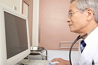 Physician watching a monitor