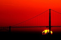 Red Sunset and Golden Gate Bridge