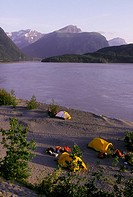 Camping on the Copper River in Alaska