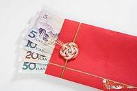Chinese currency in a red envelope