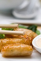Close_up of spring rolls