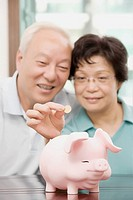 Mature couple putting a coin in a piggy bank