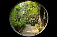 Garden viewed through a window, Yu Yin Shan Fang, Panyu, Guangzhou, Guangdong Province, China