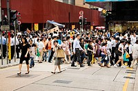 Crowd walking in a street, Hong Kong Island, Hong Kong, China (thumbnail)