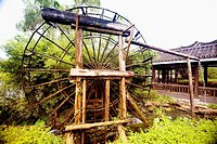 Watermill in a field, Yangshuo, Guangxi Province, China
