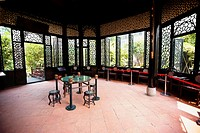 Empty table and stools in a gazebo, Yu Yin Shan Fang, Panyu, Guangzhou, Guangdong Province, China